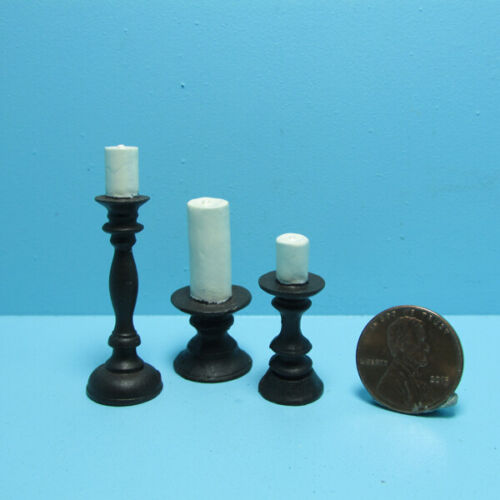 Dollhouse Miniature Pilar Candle on Pedestal Set of 3 Varied Height & Size T8480