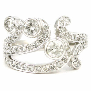 14k White Gold Fancy Bezel and Bead Set Diamond Ring (1.54) 3574