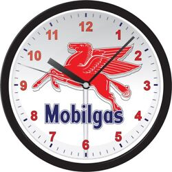 Mobile Gas Pegasus Retro Style Black Collectible Wall Hanging Home Office Clock