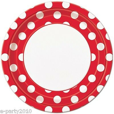 RED POLKA DOT LARGE PAPER PLATES (8) ~ Birthday Party Supplies Dinner Luncheon