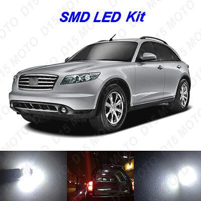 13 x White LED Interior Bulbs + License Plate Lights for 2003-2008 Infiniti FX35 (Led Infinity)