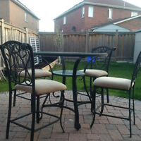 5 Piece Patio Set with High Circular Table and 4 Chairs