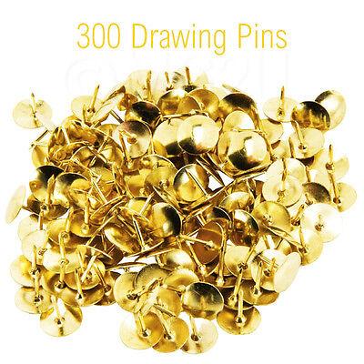 300 Strong GOLD COLOUR DRAWING PIN PACK Brass Head Push Pins Thumb Tacks BOXED