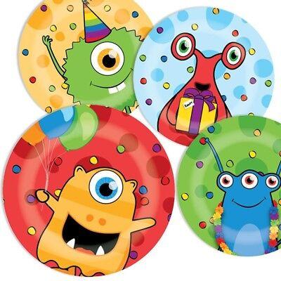 8 bunte Partyteller, Monster, zur Alien Geburtstags-Feier Junge und Mädchen ()
