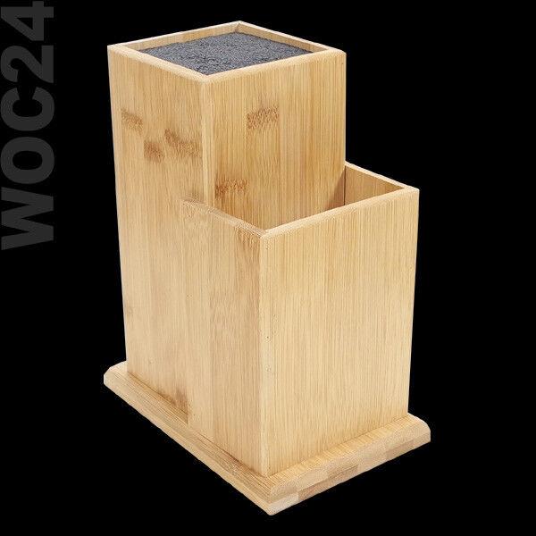 UNIVERSAL MESSERBLOCK BAMBUS Holz ohne Messer unbestückt Borsten Borsteneinsatz