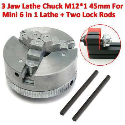 Metal 3 Jaw Lathe Chuck Self-centering M121 45mm For Mini 6 In 1 Lathe 2 Rods