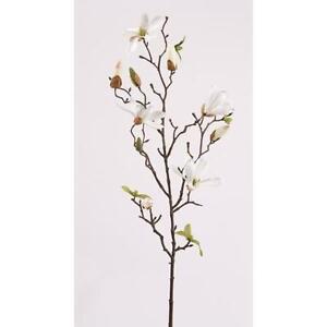 Kunstblume, künstlicher Magnolienzweig, creme weiß, 75cm Emerald