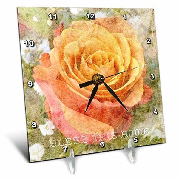 peach rose bless this home desk clock