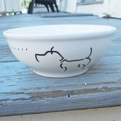 "Pit Bull Handpainted 6"" Ceramic Bowl - Black Dog on White Bowl - Free Shipping"