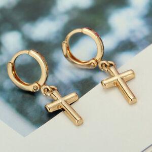 Gold Cross Hoop Earrings Crucifix Dangly Hoops Punk Gypsy Snap Closure Unisex