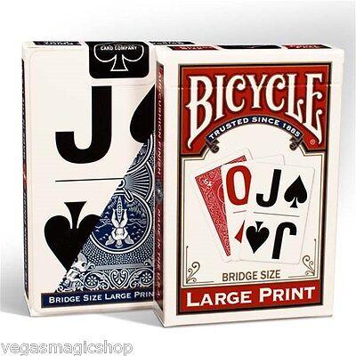 Large Print Rider Red & Blue 2 Deck Set Bicycle Playing Cards Bridge Size USPCC