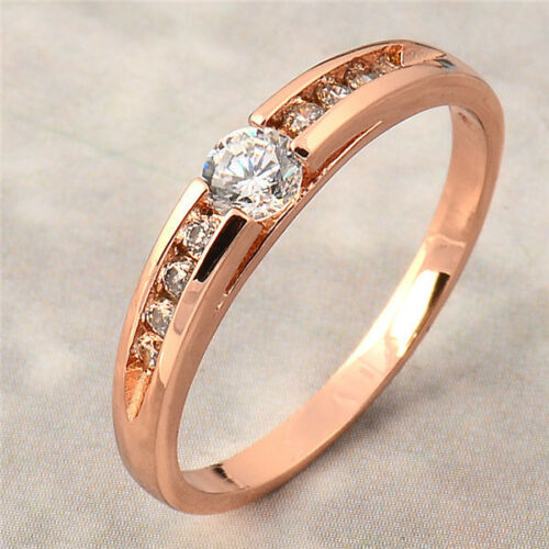 Simple Rose Gold Plated Clear Rhinestone Crystal Wedding bride Love Band Ring