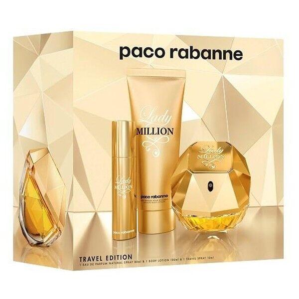 d58dbe23c Paco Rabanne Lady Million Gift Set Eau de Parfum Natural Spray 80ml+Body  Lotion 100ml+MiniSpray 10ml