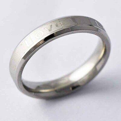 stainless steel engagement promise ring silver