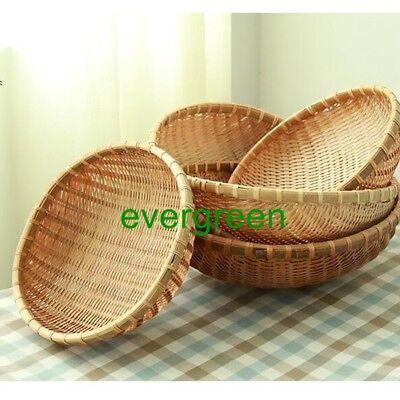 Hand-made Bamboo basket storage round dustpan Kitchen Fruit Centerpiece weave - Bamboo Basket