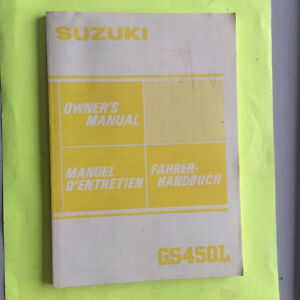1984 Suzuki GS450L Owners Manual Regina Regina Area image 1