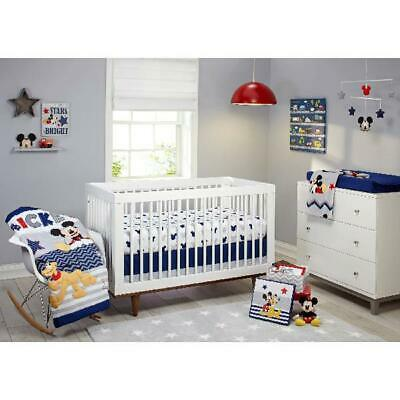 Nursery Sets For Boys Baby Disney Crib Bedding Mickey Mouse Comforter Sheet 4 Pc