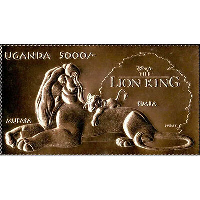 Uganda - Lion King Mufasa and Simba Gold stamp