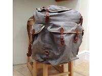 2 Vintage canvas and leather rucksacks
