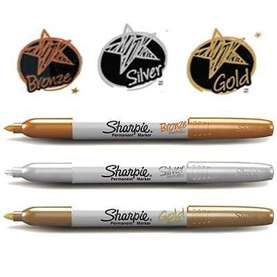 Sharpie Fine Metallic Permanent Marker Pen - Gold Bronze Silver - 1 Or 3 Pack