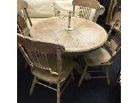 Rustic oak kitchen table and chairs delivery can be arranged