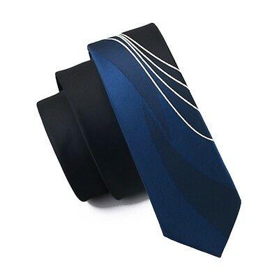 (Skinny Slim Blue Tie Silk Tie Narrow Bussiness Black Necktie Wedding E-244)