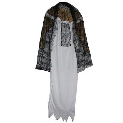 3 tlg. Kostüm Set Frau Mädchen ZOMBIEBRAUT Halloween Fasching Kleid schwarz (Weißes Kleid Halloween Kostüm)