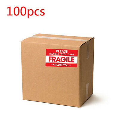 100pcs Fragile Handle With Care Do Not Drop Label Stickers Move 1.9 X 3.5