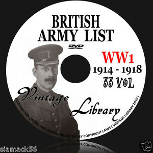 WW1-British-Army-Lists-1914-1918-33-Volumes-on-DVD-E-BOOK-medals-coat-hat