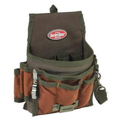 "BUCKET BOSS 54140 Tool Pouch,Brown/Green,9 Pockets,6-1/2""W G6121626"