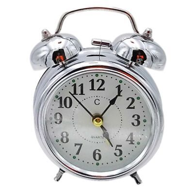 Vintage OLD STYLE Alarm Clock MINI Twin Metal Bell Mute Silent Analog SILVER Old Fashion Alarm Clock