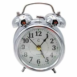 Vintage OLD STYLE Alarm Clock MINI Twin Metal Bell Mute Silent Analog SILVER