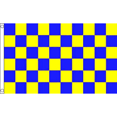 Blue & Yellow Checkered Flag 5 x 3 FT - 100% Polyester With Eyelets Banner