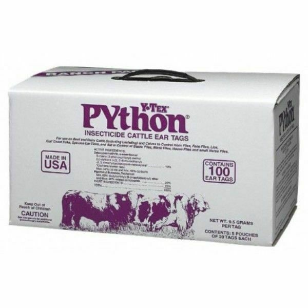 Python  Insecticide Fly Tags 100/pkg Cattle Cows Calf