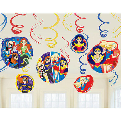 Super Hero Decorations (DC Super Hero Girls Foil Swirl Dangling Cutouts Decoration Party Supplies)