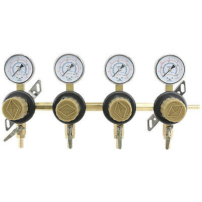 4-way Secondary Air Regulator - Polycarbonate Bonnet - Co2 To 4 Draft Beer Kegs