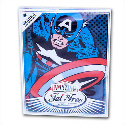 Marvel Captain America Blue Fat Free Bifold Bi-Fold Boy Men's Wallet OFFICIAL Blue Bi Fold Wallet