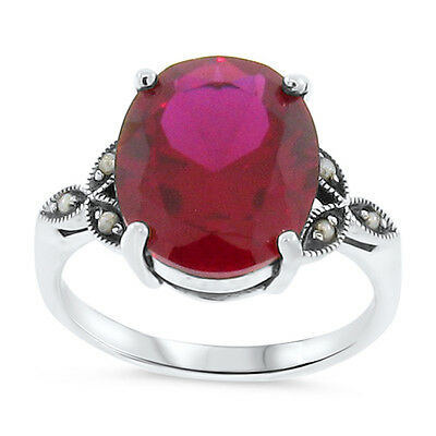 7 CT LAB RUBY ANTIQUE VICTORIAN STYLE .925 STERLING SILVER RING SIZE 5,     #103