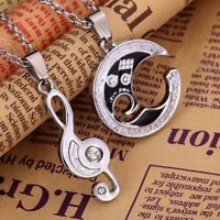 Couples Matching Musical Note Stainless Steel Pendants