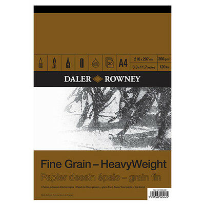 A4 DALER ROWNEY FINE GRAIN HEAVYWEIGHT CARTRIDGE PAD 200gsm ARTIST SKETCH PAPER