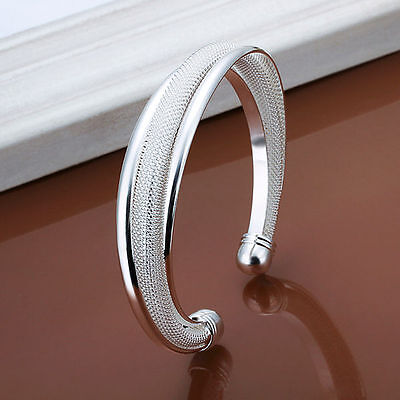 Women's 925 Silver Filled Bangle Bracelet Classic Fashion Jewelry Xmas Gift