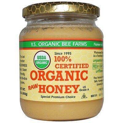 Natural Organic Honey 100% Certified 16 oz Pure Raw Honey Ys Eco Bee Farms
