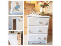 Solid pine Peter Rabbit 3 drawer bedside unit