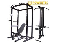 **RRP £1000 EXCELLENT CONDITION** POWERTEC POWER CAGE RACK WITH LAT TOWER