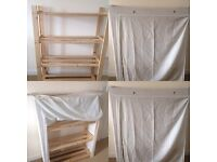 Pine shelves with canvas cover