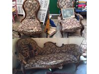 Victorian three piece salon furniture, chaise longue and two spoon back chairs