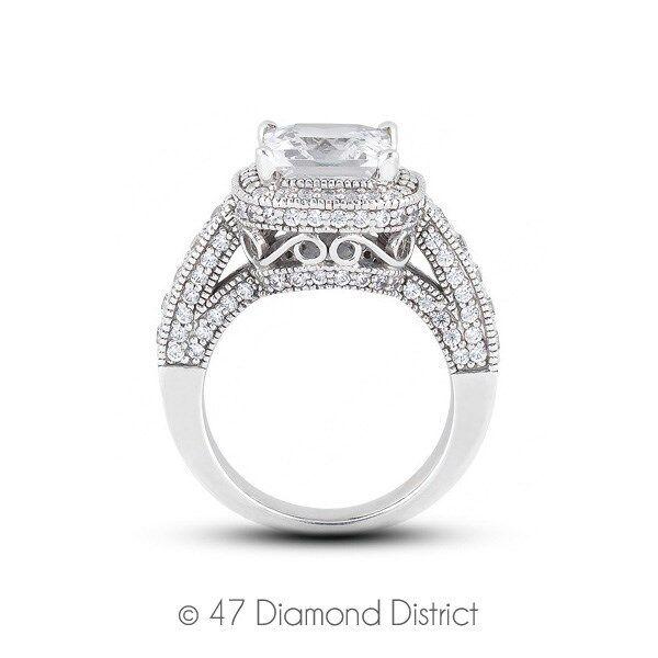 2.48ctw L-vs1 Vg Princess Agi Certified Diamonds 14k Gold Halo Milgrain Ring 9gm
