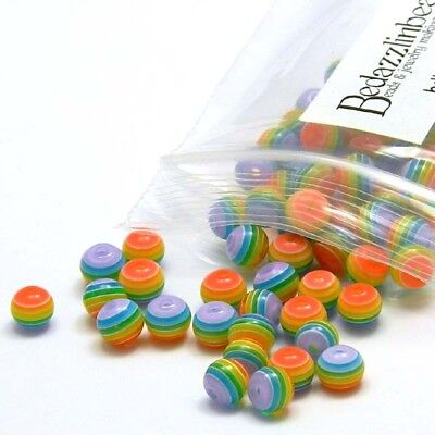 - 50 Rainbow Translucent Striped 6mm Round Plastic Acrylic Resin Beads with Lines