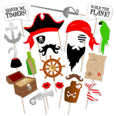 22 Pcs Pirate Photo Booth Props DIY Kit Dress-up Accessories