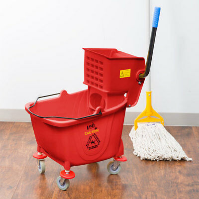 Red 36 Quart Plastic Mop Bucket With Wheels And Side-press Wringer Combo